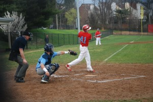 Sophomore Steven Baker bats during a difficult 3–10 loss to Stonebridge HS.  The team started the season with a difficult schedule, playing only teams from the VHSL 6A class.  The team will face their first conference opponent April 17.
