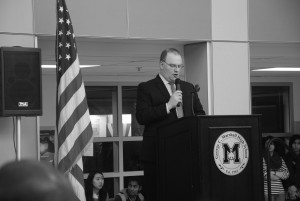 Principal Jeffrey Litz speaks at the grand opening ceremony, which marked the end of  the four year construction project. Superintendent Karen Garza and Fairfax County School Board member Ryan McElveen were among those in attendance. The event featured tours led by Marshall students, a preview of the Marshall musuem and a reception.