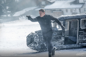 Throughout Spectre, various exotic locales provide the setting for much of the plot. Above, Daniel Craig aims his weapon in an action scene in the snowy mountains of Austria. Other locations in the movie include London, Morroco and Rome.